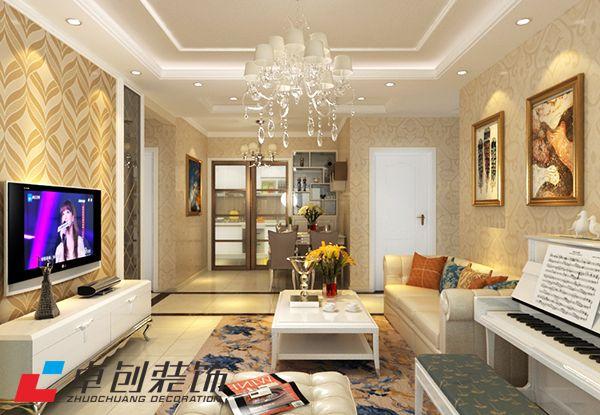 禹州翡翠湖郡102平简欧风格装修设计案例图-乐通家装案例