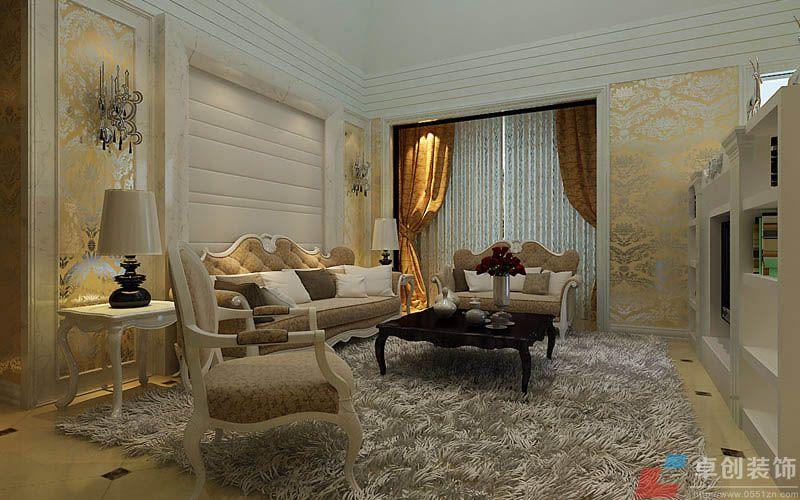 沙发背景墙使用的是硬包,吊顶使用了多层石膏线的造型.图片