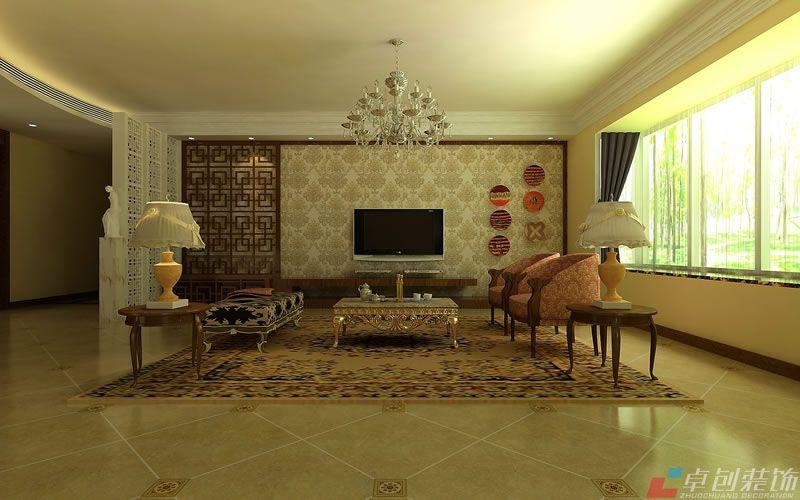 客厅装修效果图 :新中式风格的电视背景墙利用中式花格和具有现代