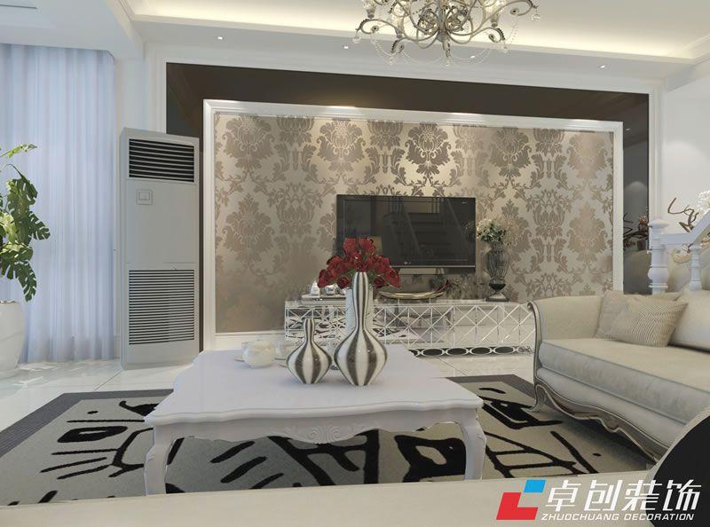 客厅的电视背景墙简欧的壁纸与茶色镜子相结合