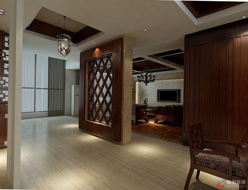 餐厅装修效果图:开敞式的厨房,餐厅使空间通透明亮,深色的木饰面